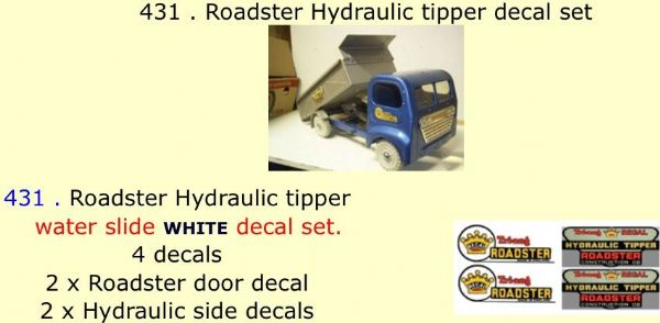 431 . Tri-ang Roadster Hydraulic tipper decal set